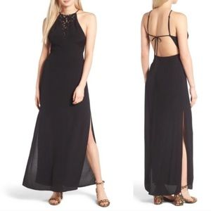 NWT Astr L black maxi open back dress